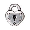 Charm Heart Lock Antique Silver